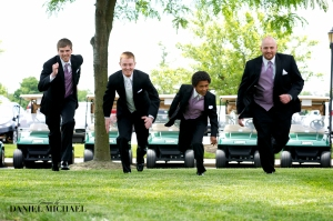 The groomsmen acting crazy before having to behave the rest of the day.